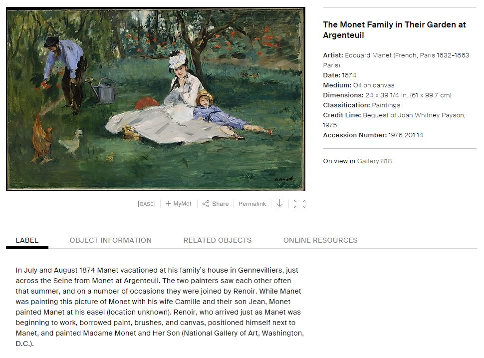 Metropolitan Museum Website: The Monet Family in Their Garden at Argenteuil