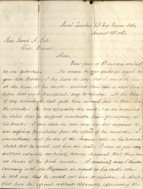 Letter from William Edmont to Sarah Sell