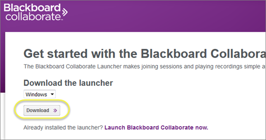 Blackboard Collaborate download the launcher screenshot