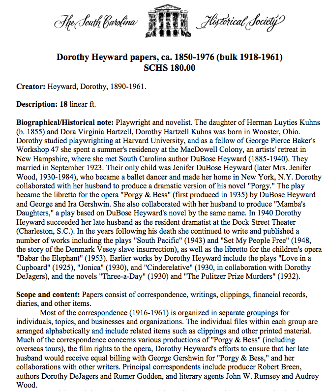 Catalog Record versus Finding Aid - HIST 410: Research Seminar in ...