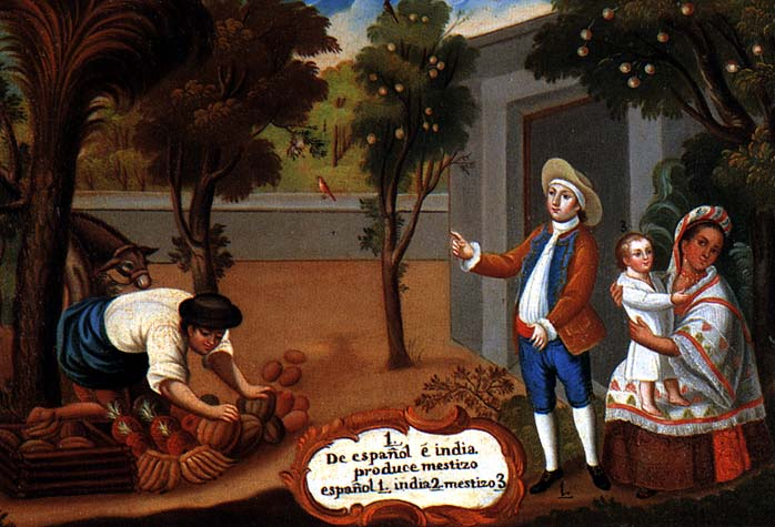 An 18th-century casta painting show an indigenous woman with her Spanish husband and their Mestizo child. Public domain image courtesy of Wikimedia Commons.