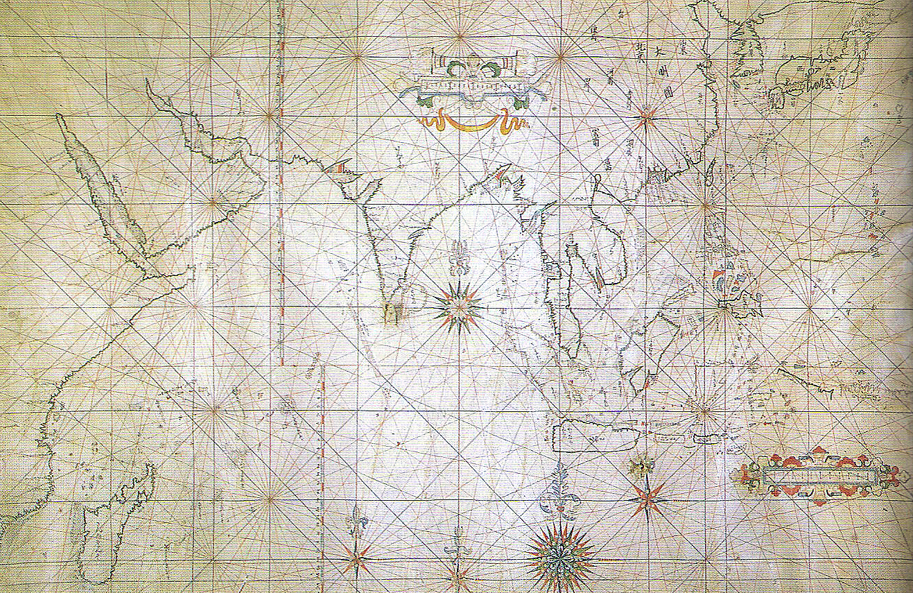 Japanese portolan sailing map. Early 17th century. Tokyo National Museum. Public domain image from Wikimedia Commons.