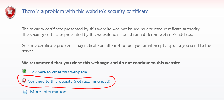 IE 7 Security Certificate Warning