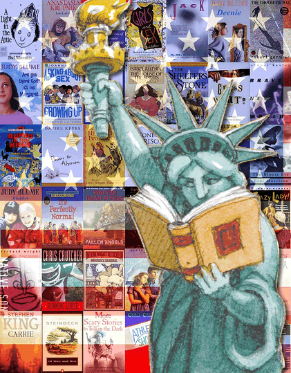 Statue of Liberty with Banned Books