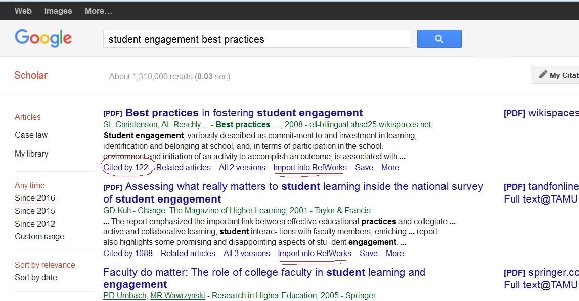 Using google scholar acct 408 student affairs research using google scholar stopboris Choice Image