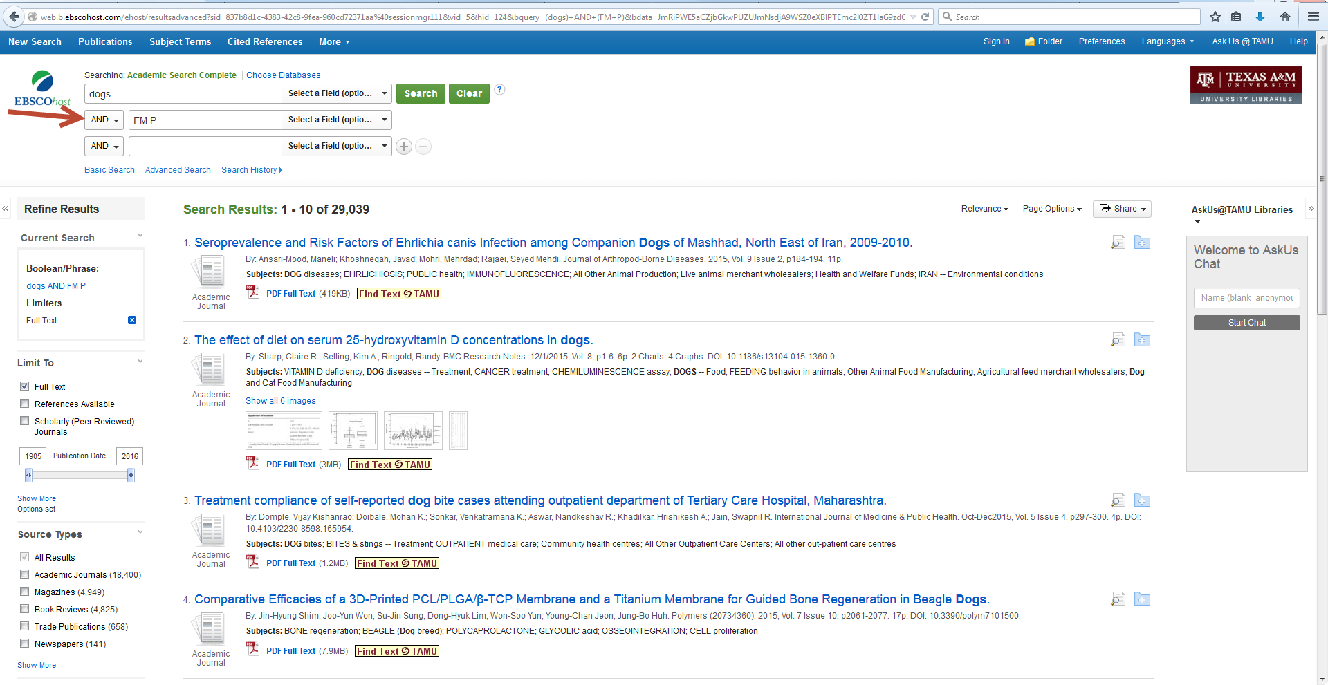 Screenshot showing search terms FM P used in search field of EBSCOhost database to limit results to PDF files