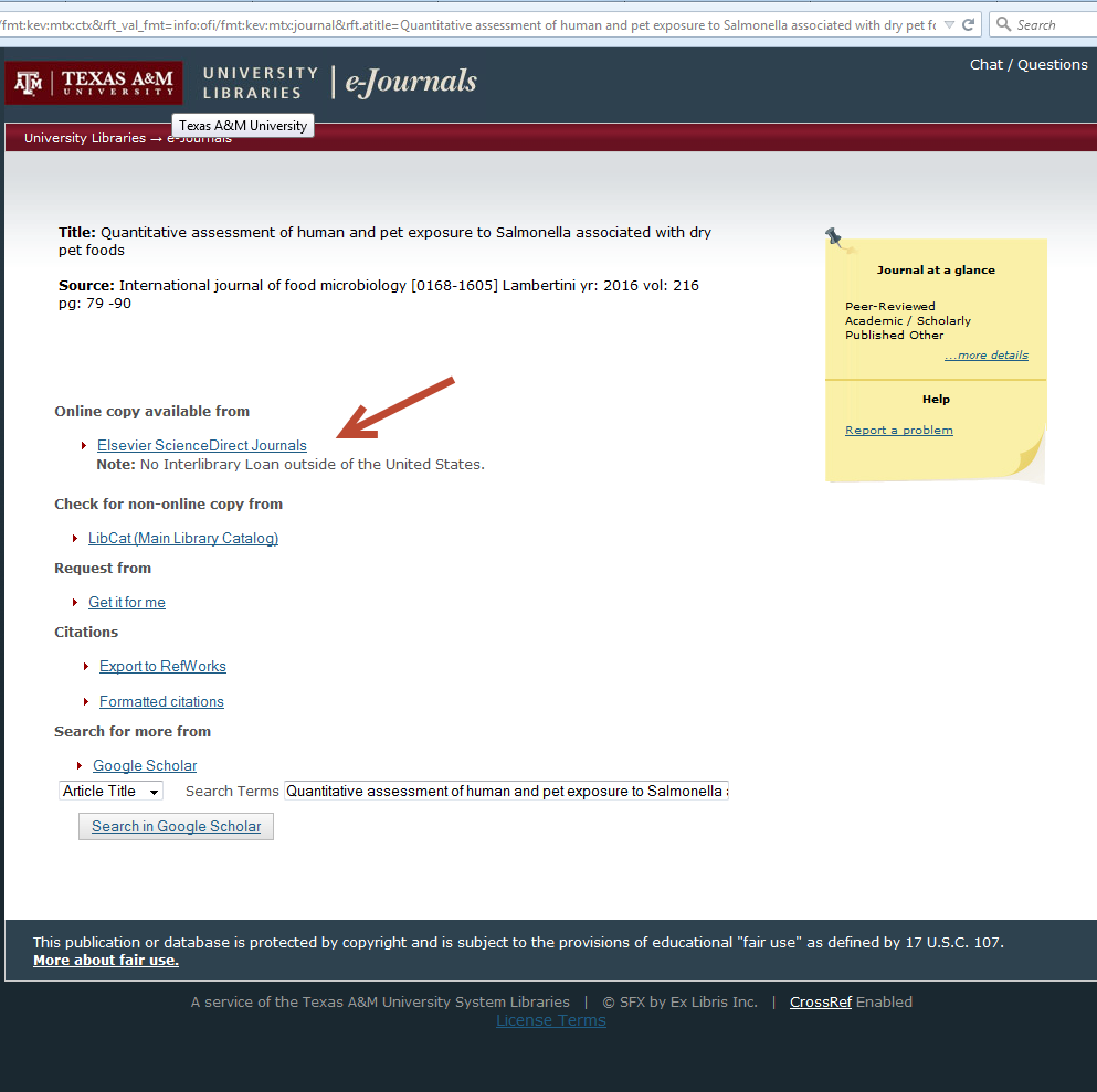 screenshot showing link resolver page with database access