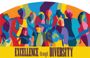Excellence through Diversity - rainbow like image of people