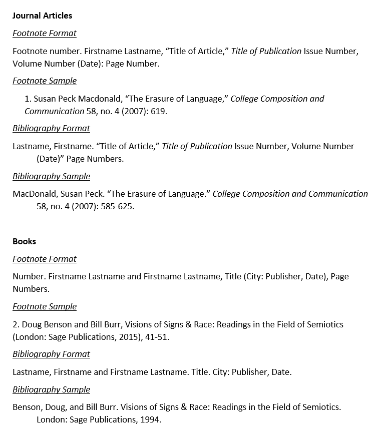 Chicago Manual Of Style Citations Bibliographies Libguides At