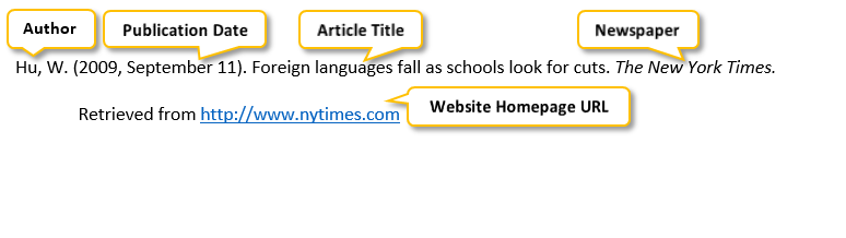 Hu comma W period parenthesis 2009 comma September 11 parenthesis period Foreign languages fall as schools look for cuts period The New York Times period Retrieved from http colon//www dot nytimes dot com