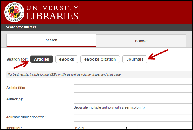 Screenshot of the Libraries Citation Finder