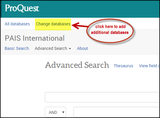 Changing and adding databases in ProQuest