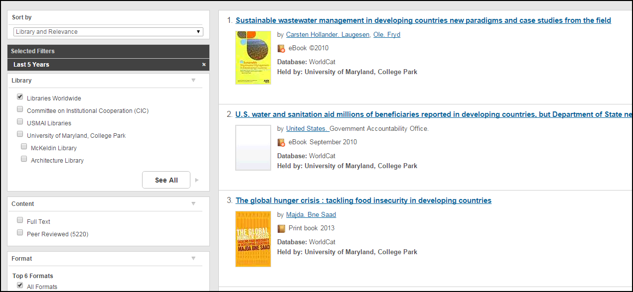 "Screenshot of WorldCat search results for ""developing countries""  water"