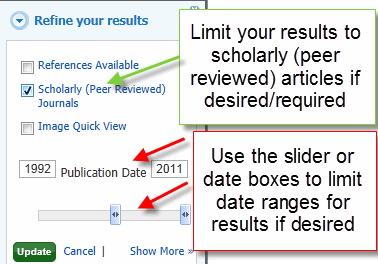 Scholarly Journals Search Limit Screenshot