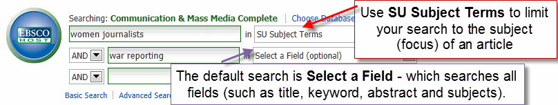 Subject Term Search Box Screenshot