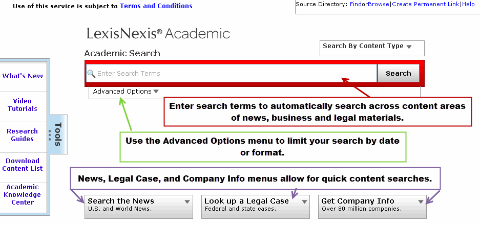 Lexis Nexis Widgets and Advanced Search Screenshot