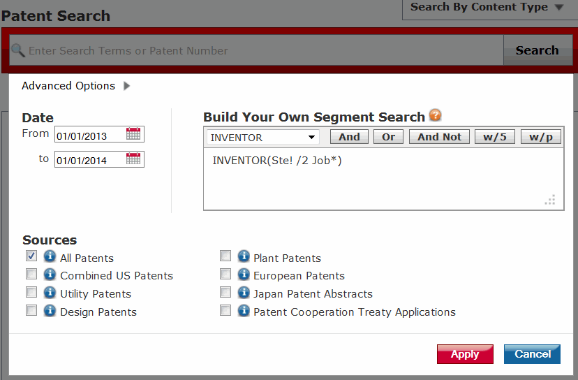 Lexis Patent Advanced Search Screenshot