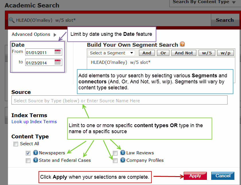 Lexis Nexis Advanced Search Page Screenshot