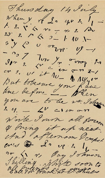 A page of Boswell's shorthand