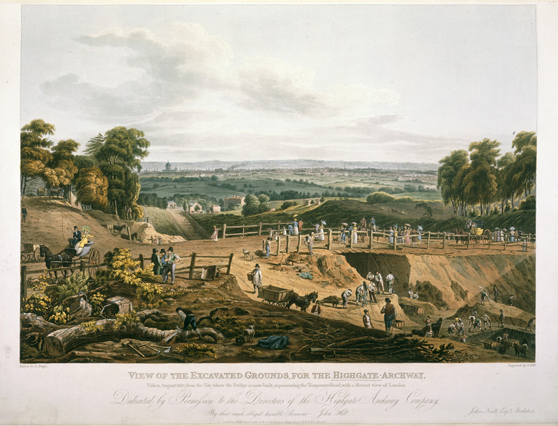 An engraving of a bridge being constructed in rural outer-London.
