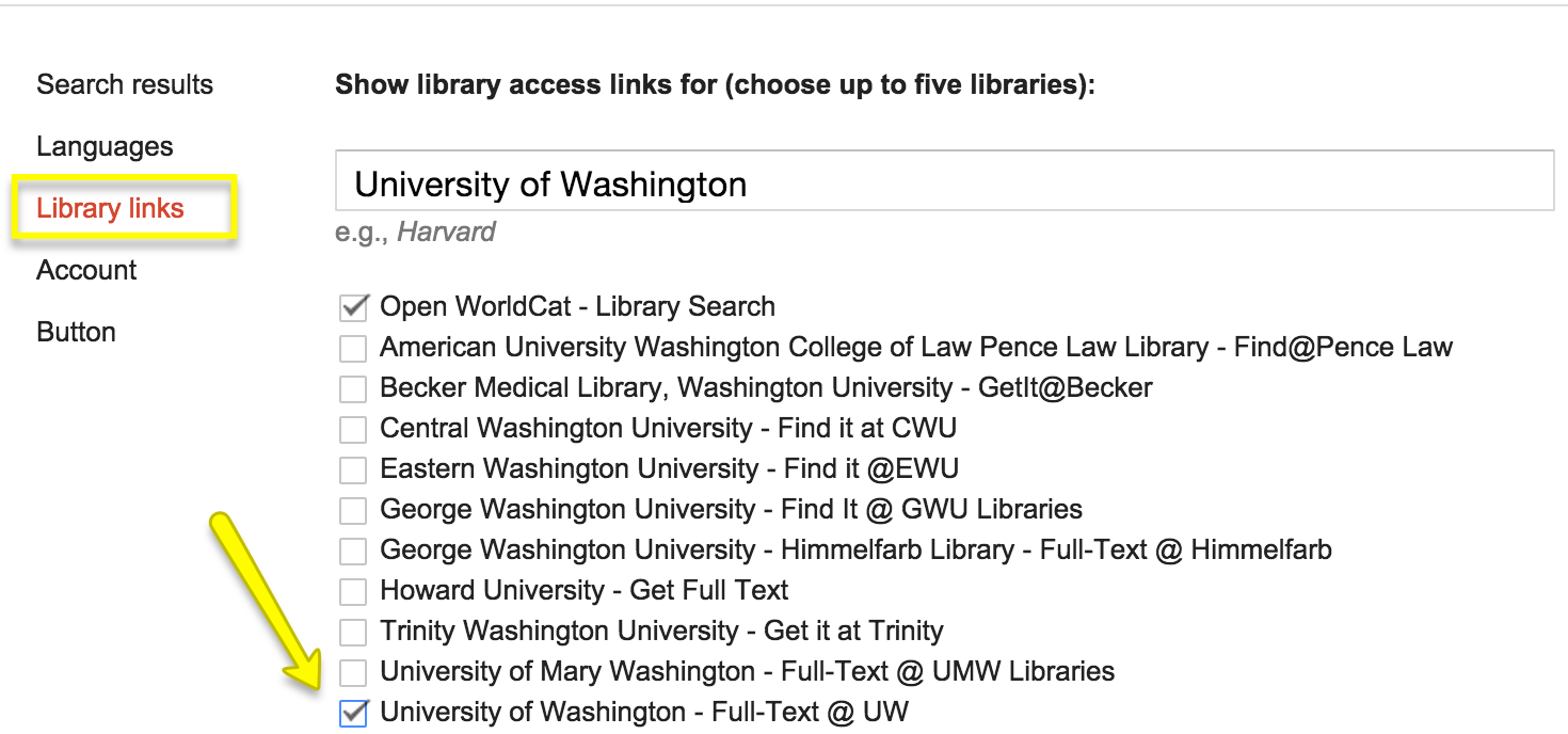 Google Scholar library links search