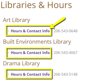 """Hours & Contact Info"" links for individual libraries"