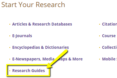 A yellow arrow pointing to the Research Guides link on the Libraries homepage