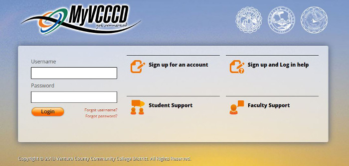 MyVCCCD Login Screen