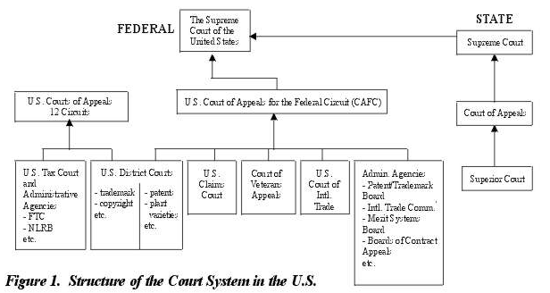 Diagram of the U.S. court system