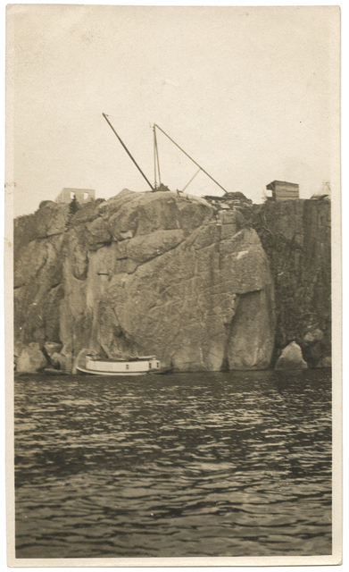 View of Split Rock Lighthouse construction site from Lake Superior (1909)