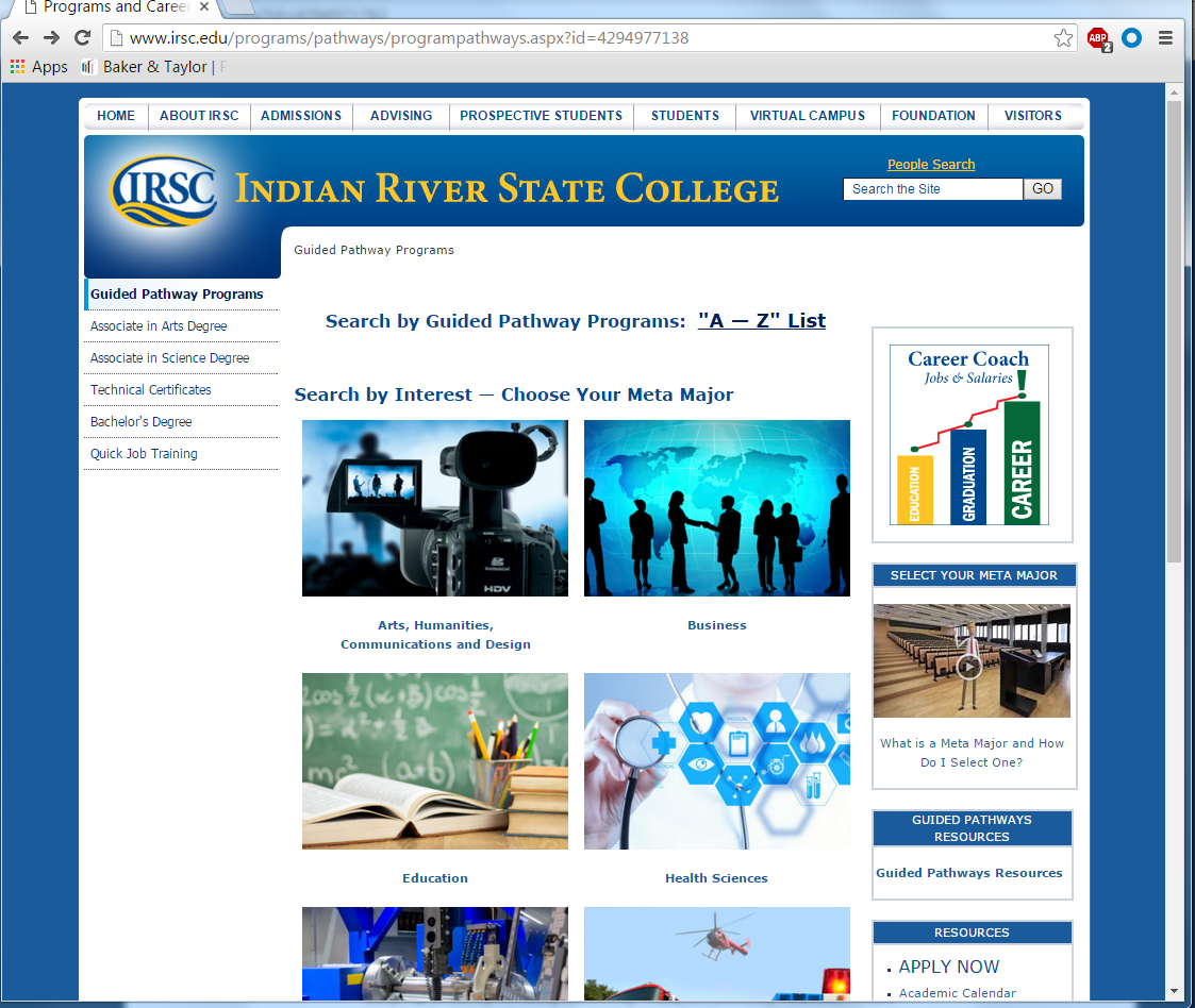 IRSC Website Page for Guided pathways