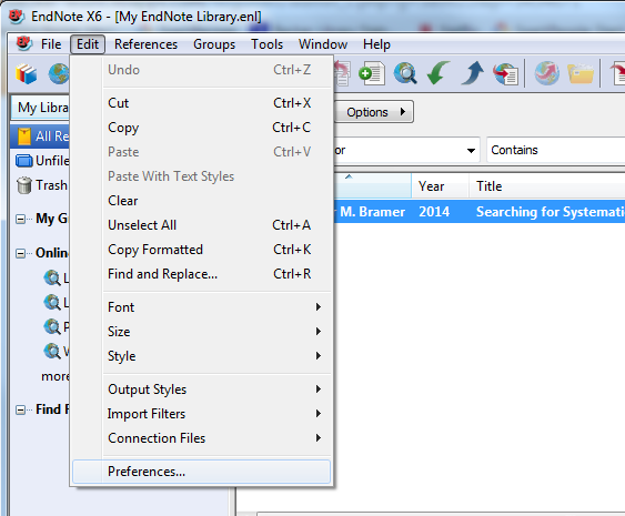 EndNote Preferences Screen Shot
