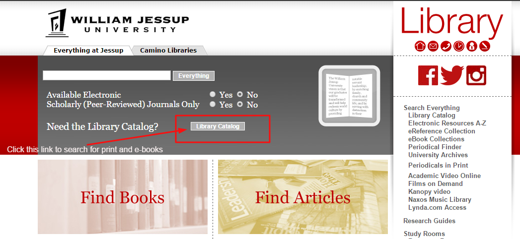Screenshot of library homepage with emphasis on which button to click for the library catalog