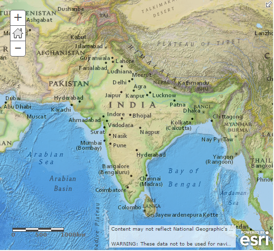 Blank Physical Map Of Middle East --South Asia (India) -...
