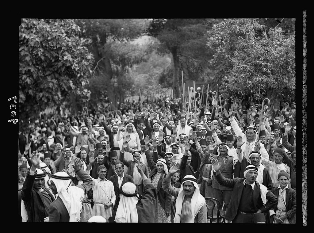 Palestine disturbances 1936. Palestine Arabs at Abou Ghosh taking the oath of allegiance to the Arab cause, viz. to fight Jewish immigration, etc.