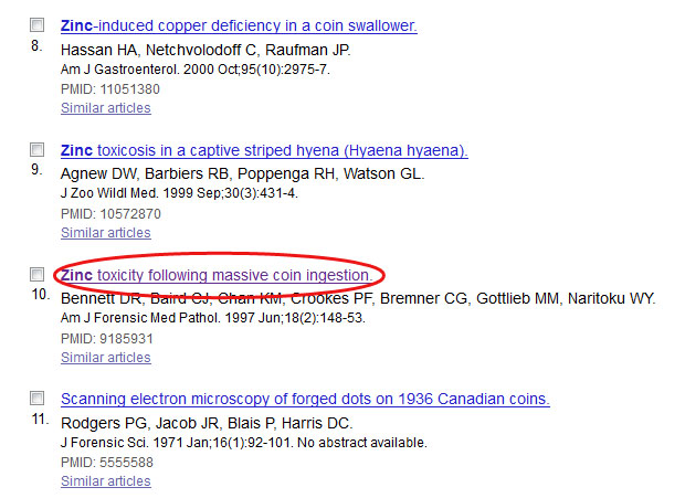 Screenshot of the results list of a PubMed search.