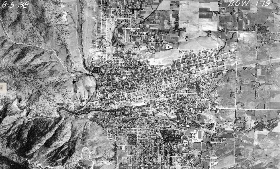 1938 aerial photo of Boulder