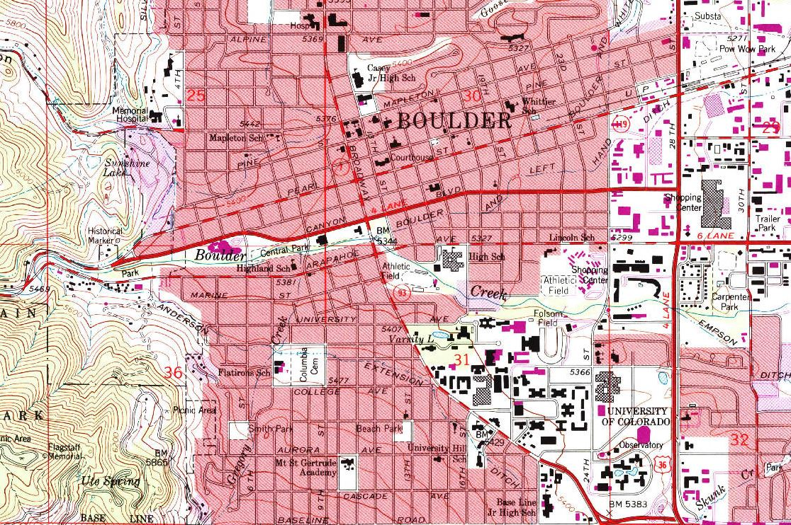 topographic map of Boulder