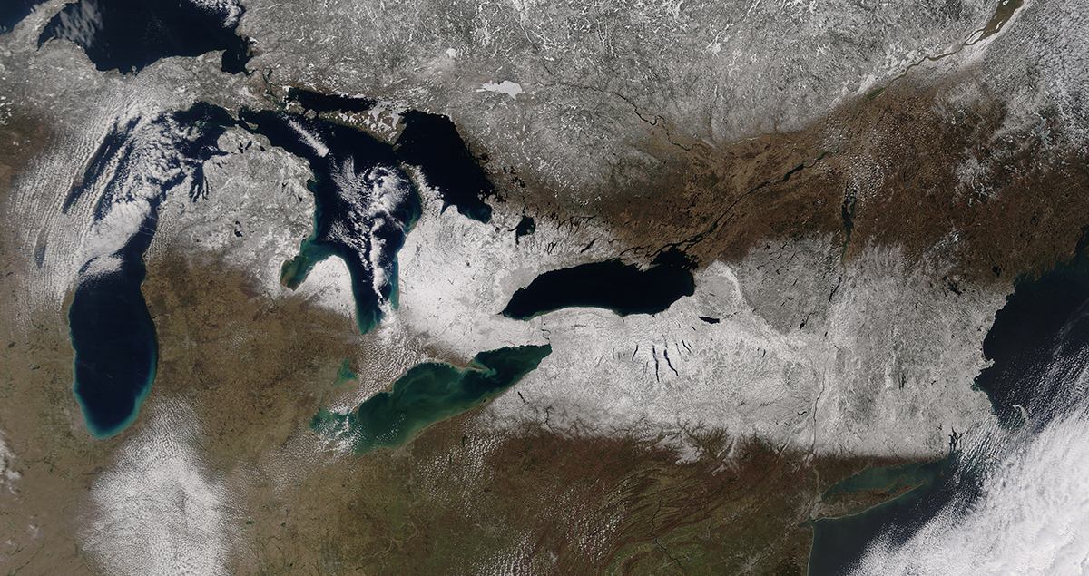 Satellite image of snow in the Northeastern United States