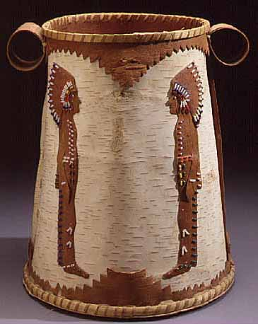 Beaded birchbark container