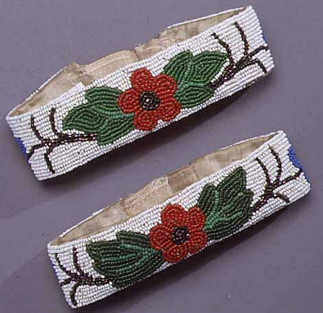 Ojibwe beaded satin armbands