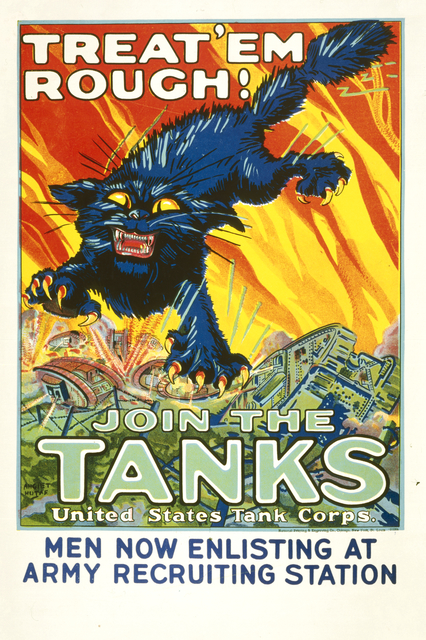 Treat 'em Rough! Join the tanks poster, c. 1914-1918