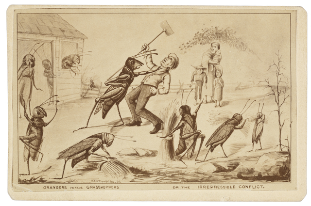 Image: Grangers versus Grasshoppers or the irrepressible conflict, c. 1880