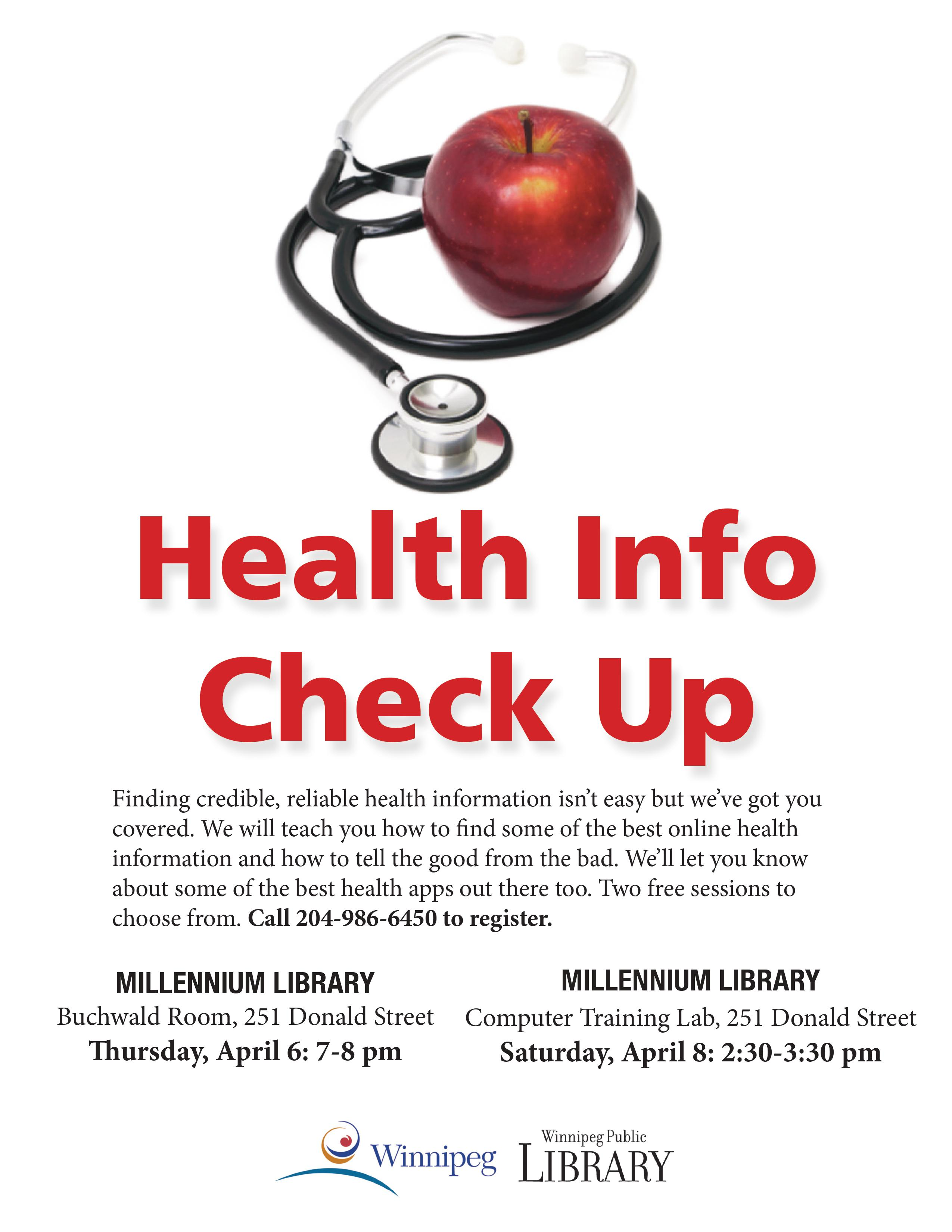Health Info Check up Program April 6 and April 8 2