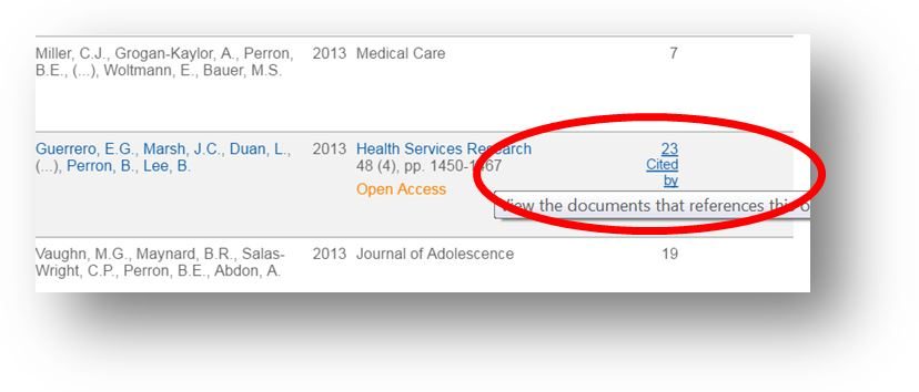 screen shot of link to number of times cited