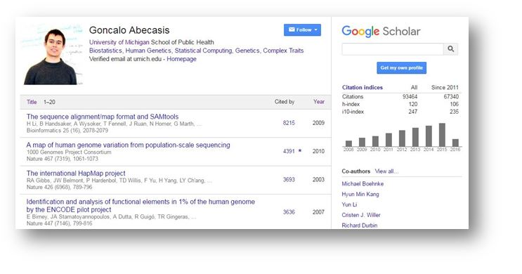 Google scholar research impact metrics citation analysis example google profile for goncalo abecasis ccuart Image collections