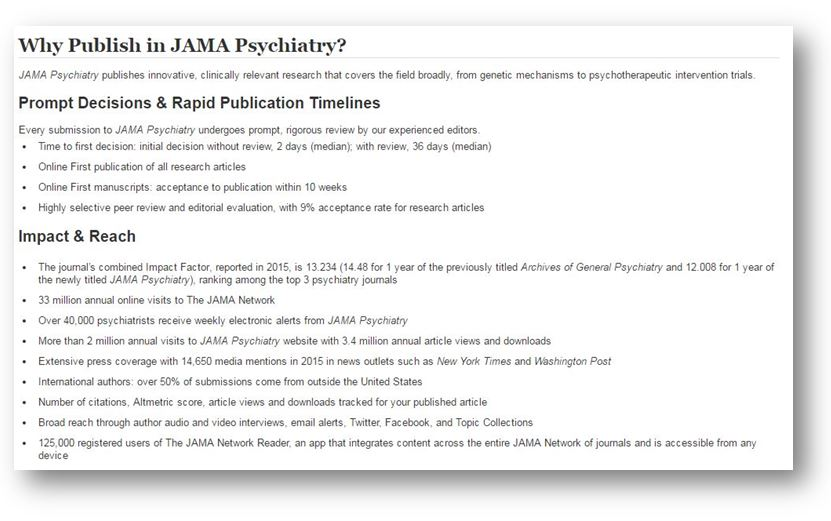 """Why Publish in JAMA Psychiatry"" screen shot"