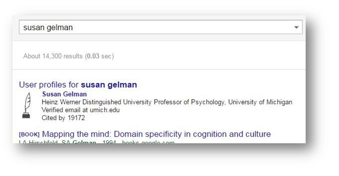screen shot of user profiles link for Susan Gelman