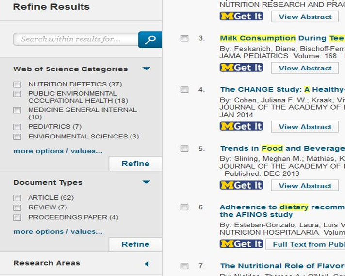 Web of Science search results page - Refine Results