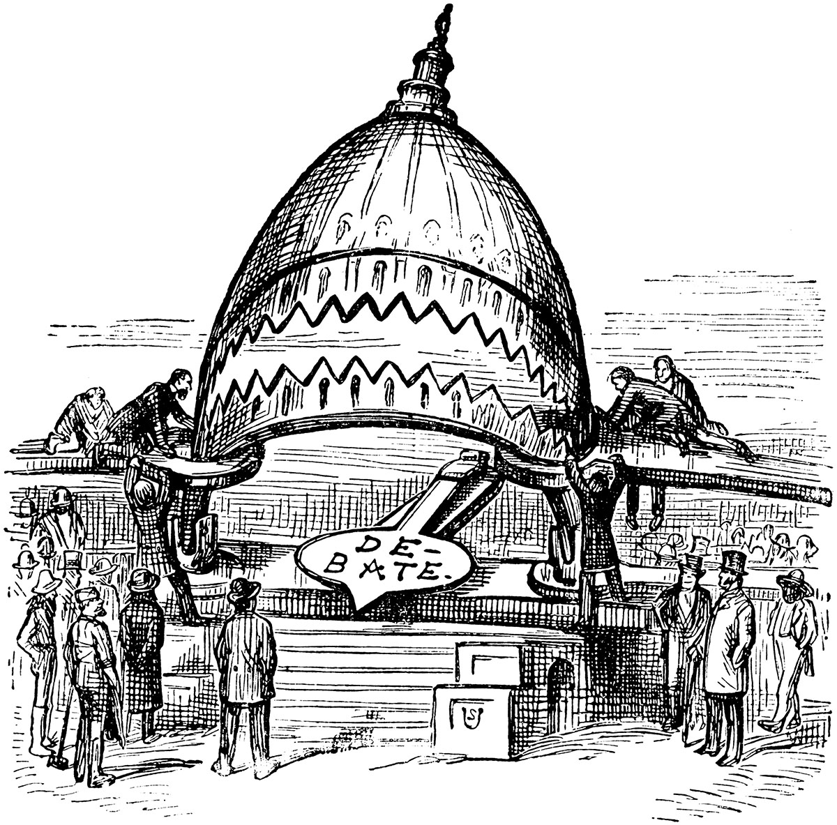 Editorial cartoon of the opening of Congress, used from ClipArt ETC http://etc.usf.edu/clipart/